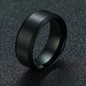 Black Stainless Steel Men's Wedding Ring Band